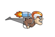 Rocket man character flying Stock Images