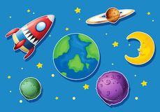 Rocket and many planets in space Stock Photos