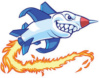 Rocket Mascot Vector Cartoon Illustration. Vector cartoon clip art illustration of an anthropomorphic rocket or missile mascot with a shark mouth. It leaves a stock illustration