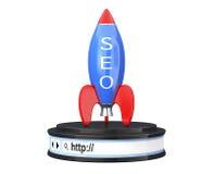 Rocket mit SEO Sign über Browser-Adresszeile als runder Plattform Stockfotografie