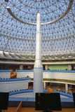 The rocket model in The Temple of Science and Technology. Pyongyang, DPRK - North Korea. Royalty Free Stock Images