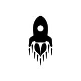 Rocket modern flat icon. Rocket black modern flat icon or template for logo design Stock Photos