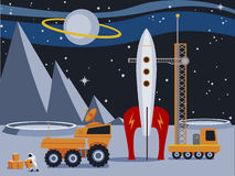 Rocket on the Moon. Vintage style illustration of a rocket and moon buggies on a distant moon Royalty Free Stock Images