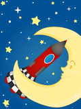 Rocket and moon Royalty Free Stock Photography