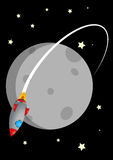 Rocket and moon Royalty Free Stock Image