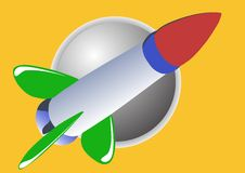 Rocket with the Moon Stock Image