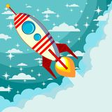 Rocket on the moon background, vector illustration Royalty Free Stock Photography