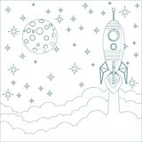 Rocket , moon in sky with space for text Stock Images