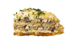 Rocket and mushroom tart, selective focus Royalty Free Stock Photography