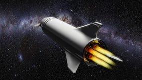 Rocket nello spazio con le fiamme che escono illustrazione vettoriale