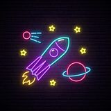 Rocket neon sign. Bright signboard with rocket, planet and stars. Space vector illustration royalty free illustration