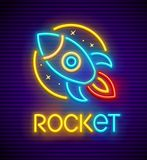 Rocket Neon Sign With Spaceship Royalty Free Stock Images