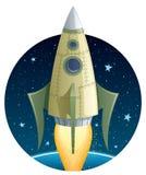 Rocket no espaço Fotos de Stock Royalty Free