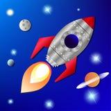 Rocket no espaço Imagens de Stock Royalty Free