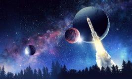 Rocket no espaço Meios mistos Fotografia de Stock