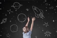 Rocket no espaço tirado ilustração stock