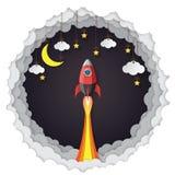Rocket, nubes colgantes, estrellas y estilo de papel del arte de la luna ilustración del vector