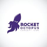 Rocket Octopus Abstract Concept Icon Arkivbilder