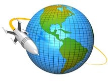 Rocket in orbit. Illustration of a rocket orbiting around the planet earth Royalty Free Stock Photography