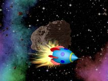 Rocket in outer space with asteroid Royalty Free Stock Image