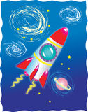 A  rocket in outer space. A cartoon vector illustration of a retro rocket in outer space with spiral galaxies and a pink planet with rings around it, yellow Stock Image