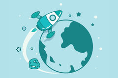 Rocket in outer space. With planets and stars Royalty Free Stock Photos