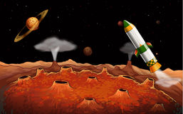 A rocket in the outerspace royalty free illustration