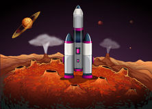 A rocket at the outerspace with planets vector illustration