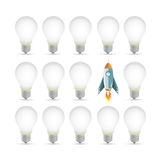 Rocket over a light bulb pattern. Illustration Stock Photo