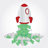 Rocket and paper money. Rocket taking off and freeing up cash Stock Images