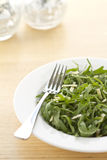 Rocket and parmesan salad vertical format. Rocket and parmesan salad in a white bowl with blurred background vertical format Royalty Free Stock Photos