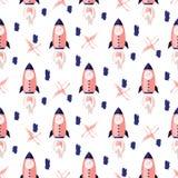 Rocket pattern vector background.