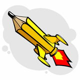 Rocket pencil Stock Images