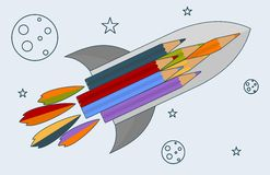 Rocket_with_ pencils royalty free illustration