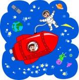 Rocket pendant un voyage dans l'espace Photo libre de droits
