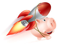 Rocket Piggy Bank. An illustration of a piggy bank with a rocket on his back flying through the air Royalty Free Stock Images