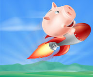 Rocket Piggy Bank. An illustration of a piggy bank on top of a rocket flying through the air over a landscape Stock Image