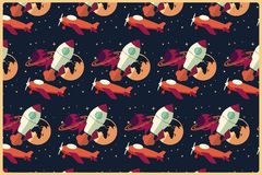 Rocket, planet and airplane in space, seamless pattern Stock Photography