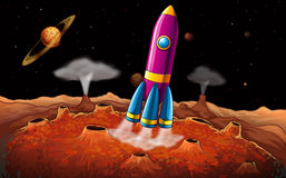 A rocket and planets at the outerspace. Illustration of a rocket and planets at the outerspace vector illustration