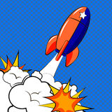 Rocket in pop art style. Royalty Free Stock Images