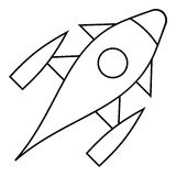 Rocket with porthole icon, outline style Stock Photography