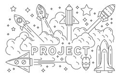 Rocket And Project Illustration. Launching Startup Business Line Art Design royalty free illustration