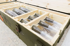 Rocket-propelled grenades in a box Stock Images