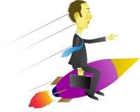 Rocket rapidamente para o sucesso financeiro no negócio Fotos de Stock Royalty Free