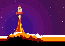 05 Rocket in Raum Lizenzfreies Stockbild