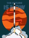 Rocket, Raumhandwerksvektor M?rz 2019, Raketenstart 2 Vektorplakatraumschiff, -mars, -flamme und -dampf auf blauem Hintergrund vektor abbildung