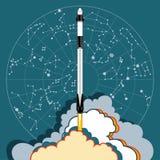 Rocket, Raumhandwerksvektor M?rz 2019, Raketenstart 2 Vektorplakatraumschiff, sternkundliche Karte Flamme, Dampf auf blauem Hinte lizenzfreie abbildung