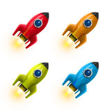 Rocket red icon 3d, Realistic color set object, Vector illustration Royalty Free Stock Images