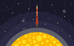 The rocket is removed from the planet. The rocket in space. Space travel Royalty Free Stock Photos