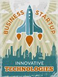 Rocket retro poster. Business startup concept with shuttle or spaceship vintage creative space 40s vector placard stock illustration